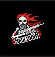 skull war logo design and vector image vector image