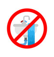 stop washbasin clogged it is forbidden to usesink vector image vector image