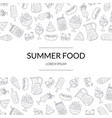 summer food banner template with picnic food hand vector image vector image