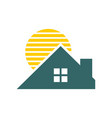 sunset house roof vector image vector image