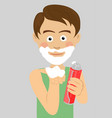 teenager boy shaving showing foam vector image vector image
