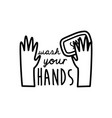 wash your hands lettering campaign with soap bar vector image vector image