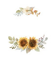 watercolor autumn wreath with sunflower