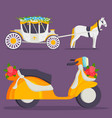 wedding fashion transportation traditional auto vector image vector image