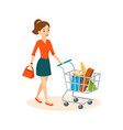 woman shopping in store in basket products vector image