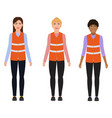 women in reflective vests female professions vector image