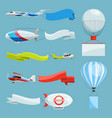 zeppelins and airplanes with empty banners for vector image vector image