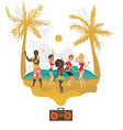 people dancing at beach party on tropical island vector image