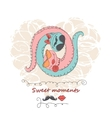 hand drawing cartoon abstract love and wedding vector image