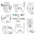 set of black and white sketch cats vector image