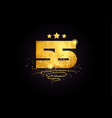55 number icon design with golden star and glitter vector image vector image