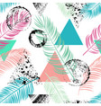abstract seamless pattern with palm leaf vector image vector image