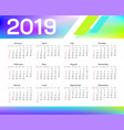 calendar for 2019 with colored stripes vector image