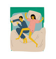 couple sleeping in bed husband and wife vector image vector image