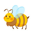 cute flying stripen smiling bee on white vector image