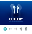 Cutlery icon in different style vector image vector image
