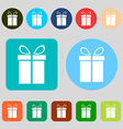 Gift box sign icon Present symbol 12 colored vector image vector image