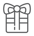 gift line icon celebration and package present vector image vector image