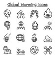 global warming icon set in thin line style vector image