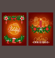greeting merry christmas and happy new year vector image vector image