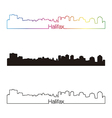 Halifax skyline linear style with rainbow vector image