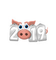 happy new year background pink pig 3d silver vector image vector image