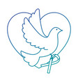 heart with dove of peace icon vector image vector image