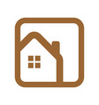 home logo round square outline vector image vector image
