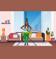 housewife ironing clothes african american woman vector image