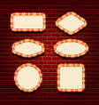 illuminated retro frames set vector image vector image