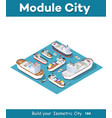isometric models of ships vector image vector image