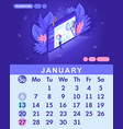 isometric month january from set calendar of 2019 vector image vector image