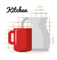 kitchen teapot with coffee cup utensil icon vector image vector image