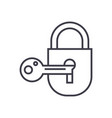 lock with key line icon sign vector image