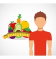 man with fruit icon design vector image vector image