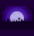 old scary cemetery with gravestones and crosses vector image vector image