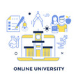 online university flat outline concept vector image