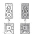 outline loudspeakers stand subwoofer pair vector image vector image