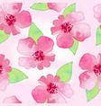 pink spring flower delicate watercolor pattern vector image