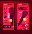 red music concert ticket design template vector image vector image