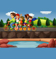scene with people riding on tandem bike vector image vector image