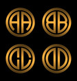 set 1 of templates from two capital golden letters vector image vector image