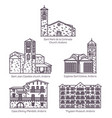 set isolated line andorra church and castle vector image vector image