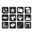 Silhouette Communism and revolution icons vector image