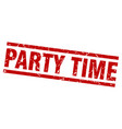 square grunge red party time stamp vector image vector image