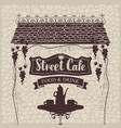 street cafe with table and tea roof and grapes vector image vector image