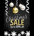 the christmas sale black banner for web or flyer vector image