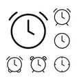 thin line clock alarm icons vector image vector image