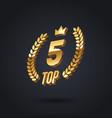 top 5 award emblem golden award logo vector image vector image