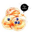 watercolor hand drawn breakfast pancakes vector image